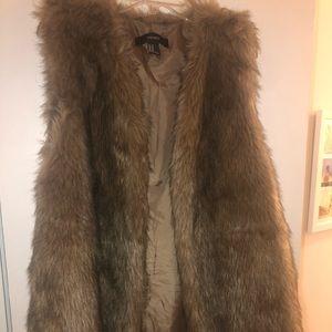 Forever 22 Brown Faux Fur Sleeveless Vest -Medium